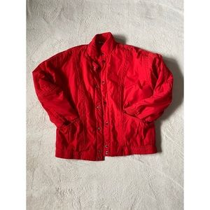 Red puffy bomber jacket